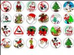 24 x Christmas Xmas  Rice Wafer Paper Bun Cake Top Toppers Freepost